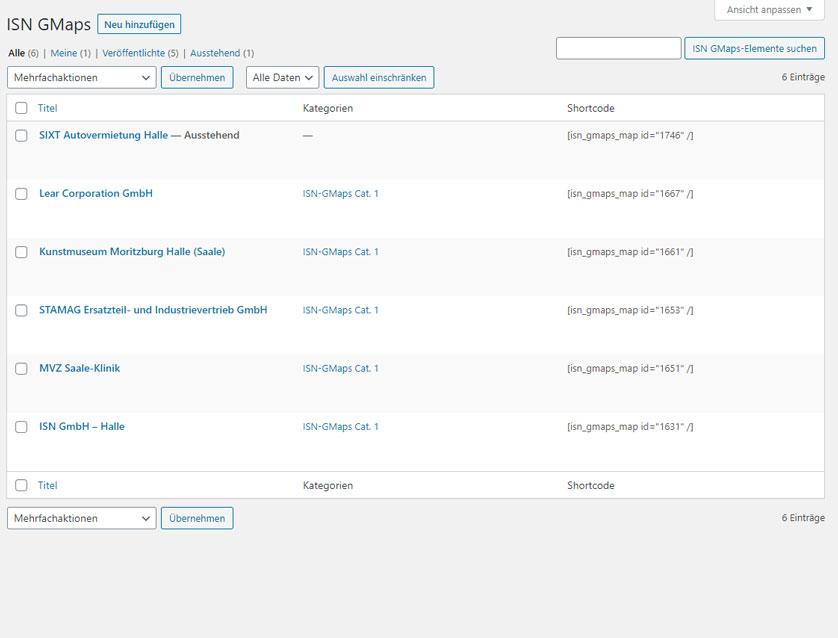 Backend-Übersicht von Einträgen, Filterung und löschen von Einträgen
